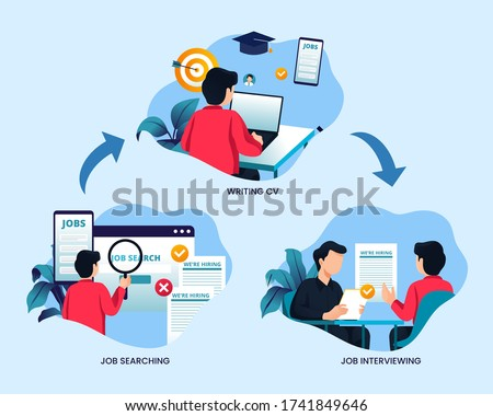 Job searching process vector concept illustration in flat style design. Write CV, apply job, interview, getting work. Job hunting flow step background. Foto stock ©