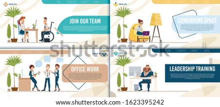 Job Searching Service, Coworking Space, Office Work and Leadership Training Trendy Flat Vector Web Banners, Landing Pages Set. Working in Office Employees, Female, Male Entrepreneurs Illustration