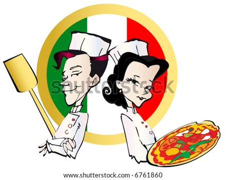 job series - pizzaiolo, pizza - stock vector