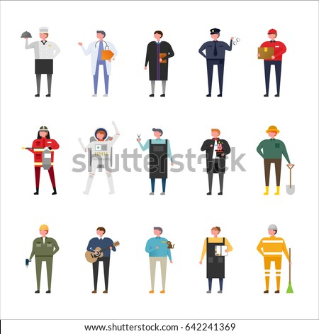 job uniform woman character set vector illustration flat design