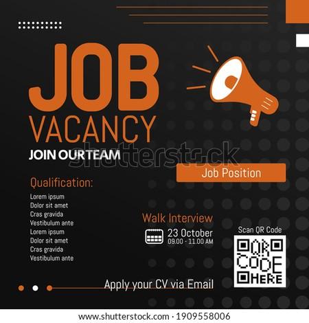 Job vacancy modern template. We are hiring, job vacancy social media content with qr code concept
