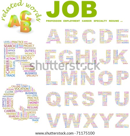 JOB. Vector letter collection. Illustration with different association terms.