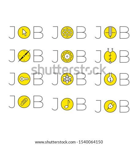 job word and job symbols. job word logo. jobs and symbols set