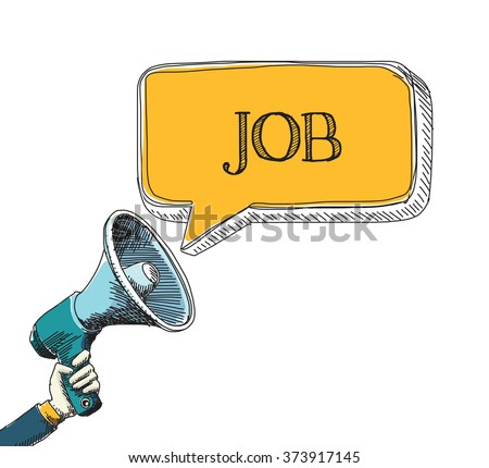 JOB word in speech bubble with sketch drawing style