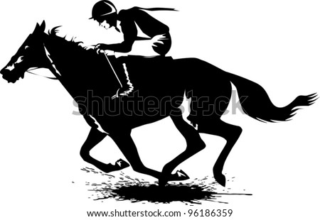 jockey on a horse involved in racing at the track (illustration);