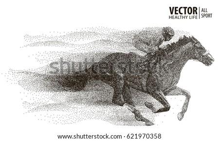 Jockey on horse. Champion. Horse racing. Hippodrome. Racetrack. Jump racetrack.