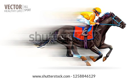Jockey on racing horse. Champion. Hippodrome. Racetrack. Horse riding. Vector illustration. Derby. Speed. Blurred movement. Isolated on white background