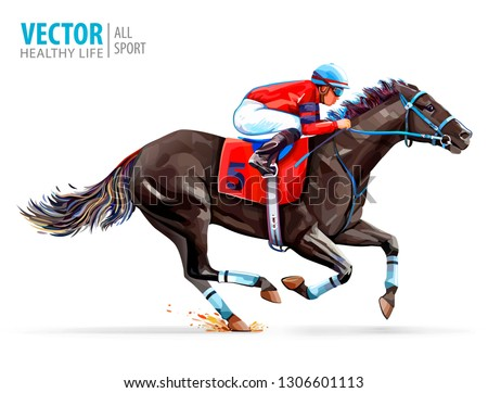 Jockey on racing horse. Derby. Sport. Vector illustration isolated on white background