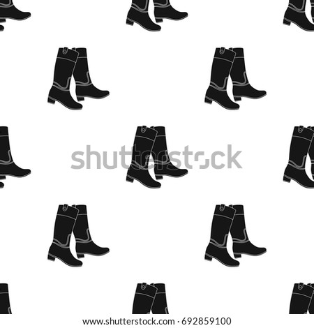 Jockeys High Boots Icon In Black Style Isolated On White Background Hippodrome And Horse Symbol