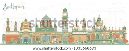Jodhpur India City Skyline with Color Buildings. Vector Illustration. Business Travel and Concept with Historic Architecture. Jodhpur Cityscape with Landmarks.