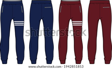Jogger bottom Pants  design vector template, Track pants concept with front and back view, Sweatpants for running, jogging, fitness,  and  active wear pants design. Stock photo ©