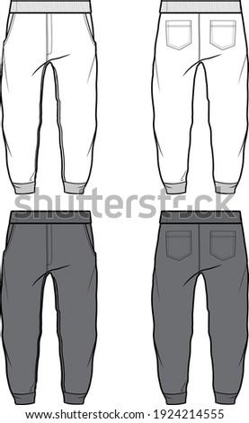 Jogger Pants Fashion Flat Template Stock photo ©