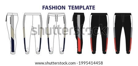 Jogger pants fashion Technical flat sketch vector template front, back and side view. Photo stock ©