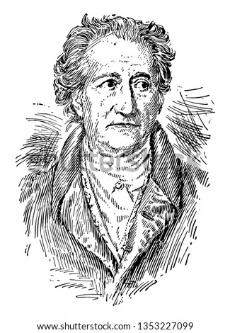 Johann Wolfgang von Goethe was the greatest figure in German literature vintage line drawing or engraving illustration.