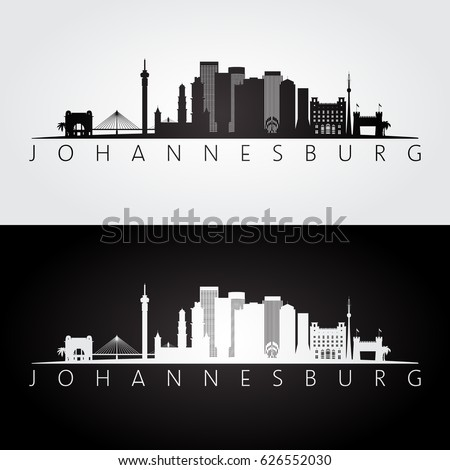 Shutterstock puzzlepix johannesburg skyline and landmarks silhouette black and white design vector illustration thecheapjerseys Images