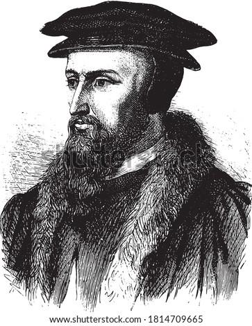 John Calvin of France, Vintage engraving. From Popular France, 1869.