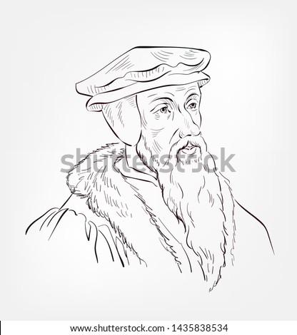 john calvin vector sketch