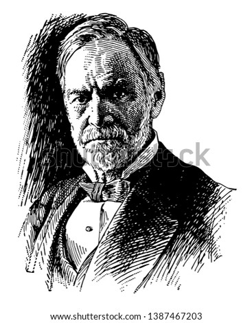 John Sherman, 1823-1900, he was an American politician, United States of senator from Ohio, and United states secretary of state, vintage line drawing or engraving illustration