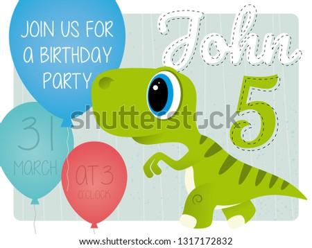 John 5th birthday party invitation card with - Dinosaur ストックフォト ©