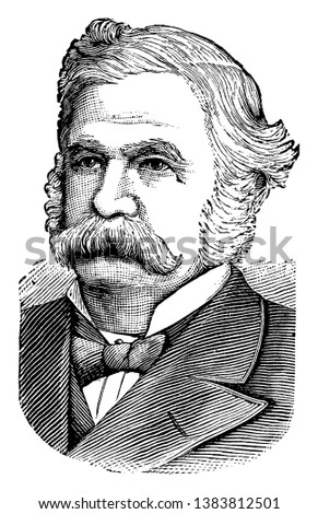 John W. Davis, 1826-1907, he was a United States democratic politician and governor of Rhode Island, vintage line drawing or engraving illustration