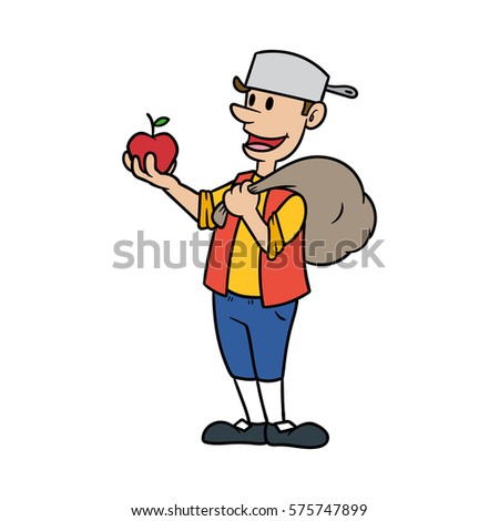 johnny appleseed cartoon vector