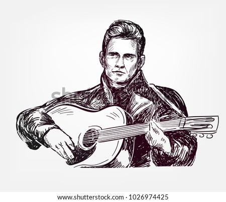 johnny cash vector sketch