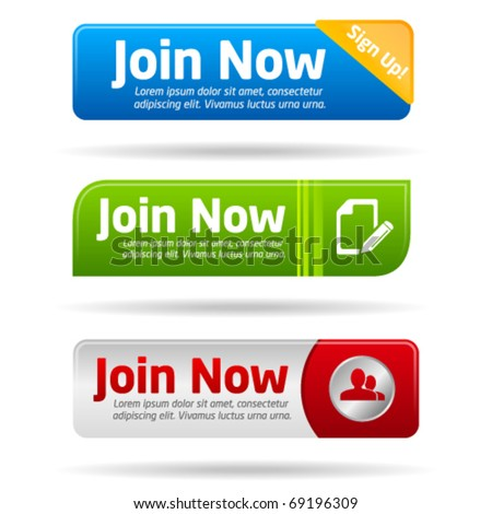 Join now modern minimal button collection