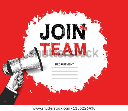 Join our team advertising sign with megaphone red background