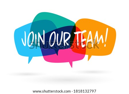 Join our team banner on speach bubble Foto stock ©