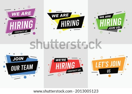 Join our team banner set. We are hiring communication poster. We are hiring, join our team and vacancy announcement flyer templates. Recruitment companies advertisement vector set.