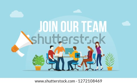 join our team concept with team people working together on the desk - vector