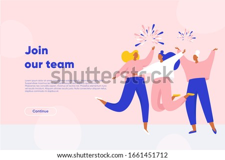 Join our team landing page. Happy women dancing and jumping. Successful workers join the dream team. Flat vector illustration.