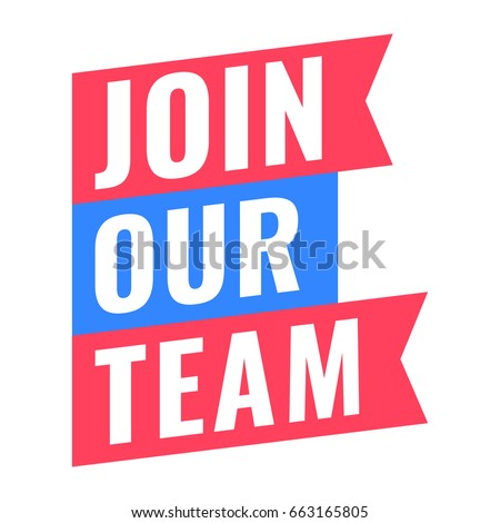 Join our team. Vector ribbon icon on white background.