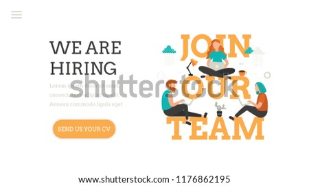 Join our team. We are hiring.  Landing page template. Modern flat design concept of web page design with cute young woman and man at work. Office workers. Vacancy. Recruitment