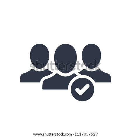 Join the community icon. Icon, membership, friend, checkmark, people, person, religion, union, vector, app, application Stock photo ©