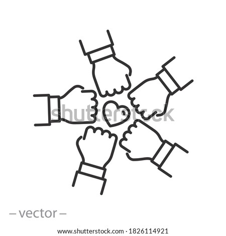 join the volunteer team icon, charity effort concept, together teamwork, leadership initiative in the employee community, thin line web symbol on white background - editable stroke vector illustration