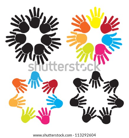 joined hands to form circles of different colors over white background
