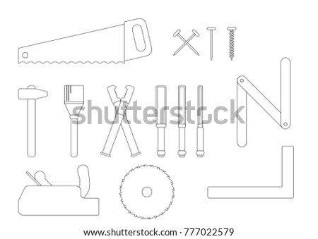 joiner collection, carpenter vector, hammer,  nail, saw, brush, chisel, pincer, ruler, wood, gauge, tool