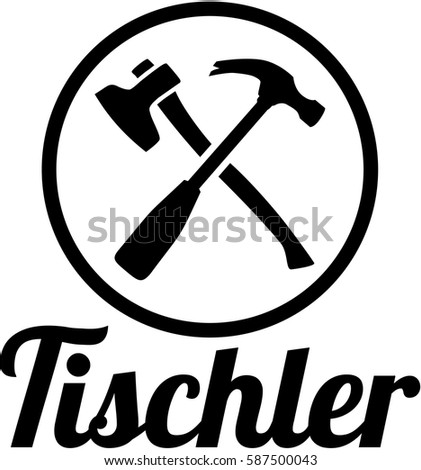 Joiner german job title with crossed carpenter tools
