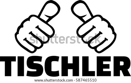 Joiner german job title with thumbs