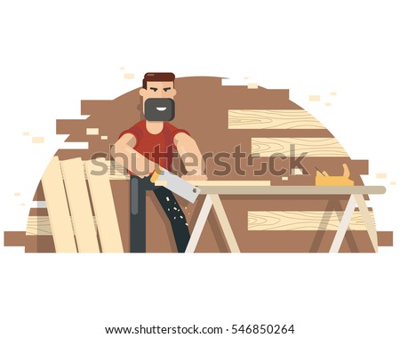 Joiner's bench for sawing boards. Woodworking and carpentry. Vector illustration