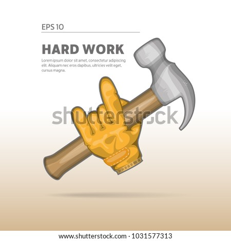 Joiner, worker holding a hammer. Icon of work activities.