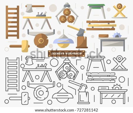 Joinery workshop furniture set in flat style. Log, ax, plane, table, saw, lamp, chair, vector illustration. Symbol collection for architecture design studio, sawmill interior icons, woodwork tool