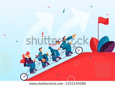 Joint Efforts Working Team to Achieve Target. Vector Illustration Red Mountain Top Riding Single Bike Men in Business Suits Women Commanding with Horn. Top Mountain is Red Flag Against Blue Sky.