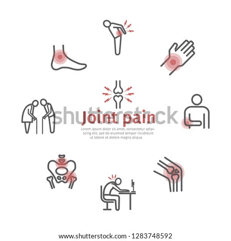 Joint pain banner. Icons set. Vector signs for web graphics. stock photo