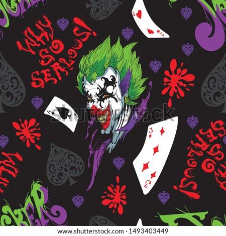 joker and card seamless pattern