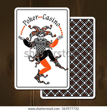 Joker cards on wooden background with poker casino title realistic vector illustration