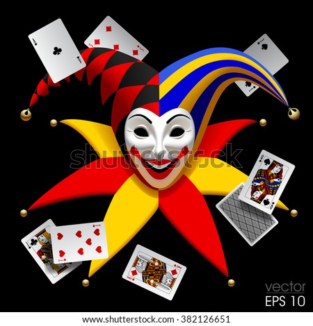 joker head with playing cards