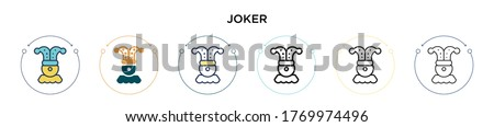 joker icon in filled  thin line