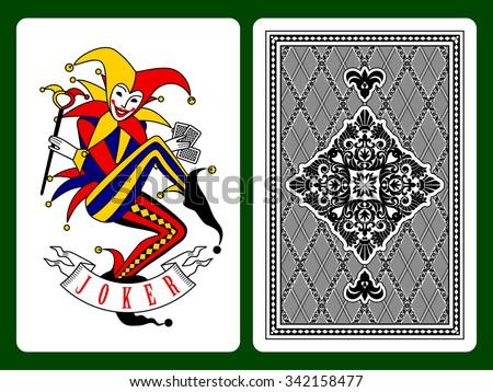 Joker playing card and black backside background. Original design. Vector illustration
